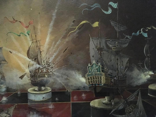 "BOBBY BURG: Amer 1958 ""War Games Strategem II ""Acrylic On WC Paper Framed Listed"