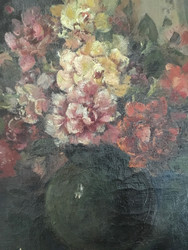 """19TH CENTURY OIL PAINTING:""""Floral Bouquet"""" Gold Framed Beautiful"""