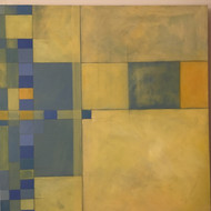 "DEBORAH BATT (UK) : ""Blue Yellow 1"" Abstract Acrylic Painting CA 2000"