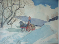 "PHILIP PLASTRIDGE (Early 20thC Winchester NH): ""Winter Logging Sleigh"" Watercolor Framed"