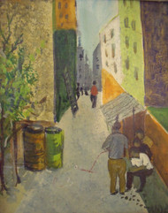 "TANYA JACOBI (1922-2012 NYC): ""Alleyway"" Oil Painting Signed Ca 1950/60"