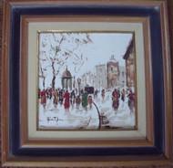 """JOHN NIGHLAND:Pair Italian HandPainted Tiles Mid-Century """"Street Scenes"""" Lovely"""