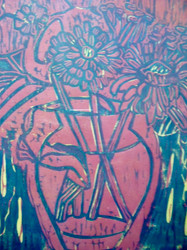 "ANN WILLIAMS: ""Flowers In Pink and Blu "" Ca 1990 Woodblock Framed"