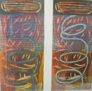 "ANN WILLIAMS: ""In Sync"" Ca 1990 Woodblock Black Frame Nicholas F Rizzo Gallery"