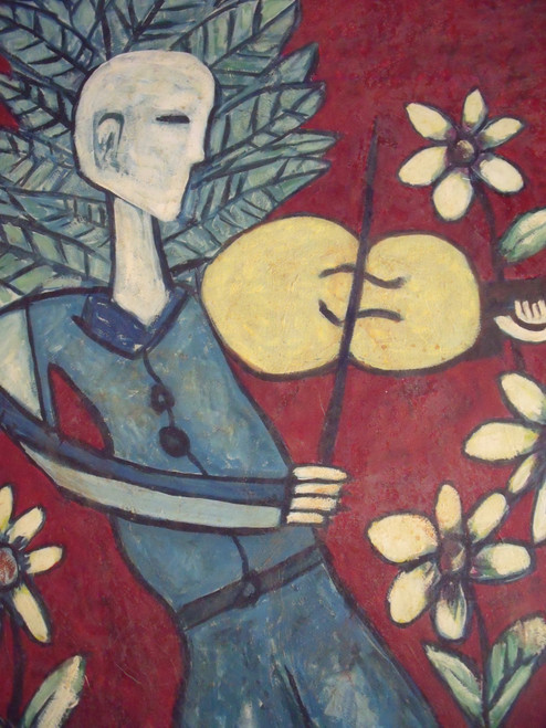 """STEPHEN SLOMKO (Amer 1929-2013 ) """"Fiddler Delighting Flora """" Oil Painting Framed"""