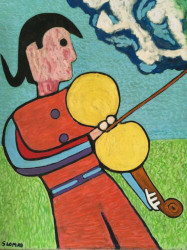 "STEPHEN SLOMKO (Amer 1929-2013 ) ""Man With Violin & Clouds"" Oil Painting Ca 1980"