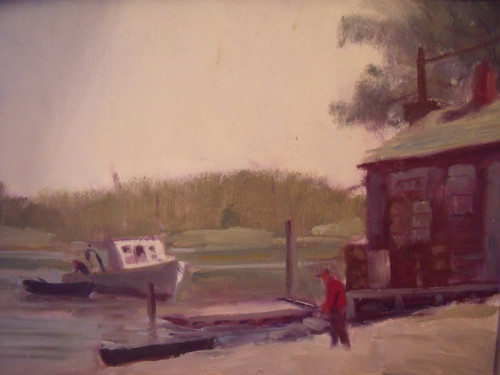 "HARRY BARTON (1908-2001 NYC): ""Inlet Boathouse"" Oil Painting Framed"