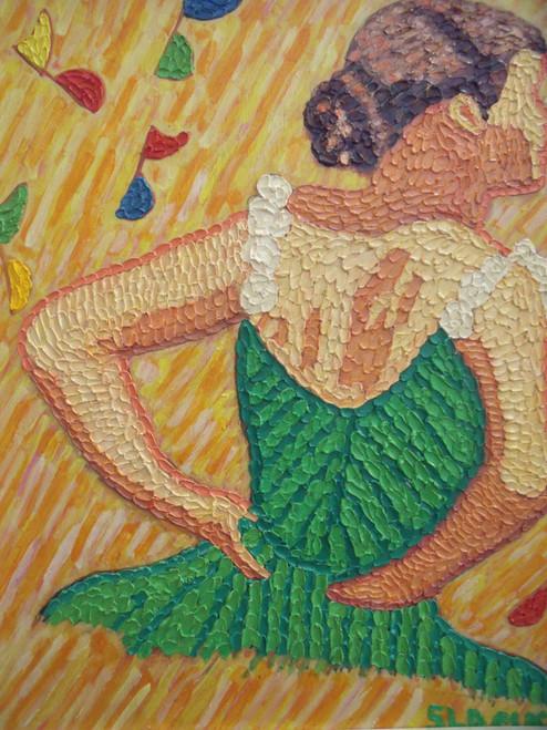 """STEPHEN SLOMKO (Amer 1929-2013 ) """"Tiny Dancer"""" Impasto Oil Painting Artist Self- Framed"""
