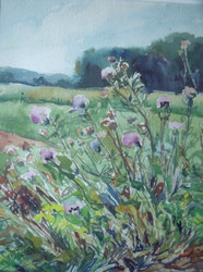 """MARY CABLE BUTLER (1865-1946) :New Hope/PA Impressionist """"Wildflower Landscape"""""""