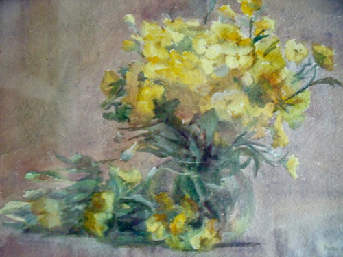 """MARY CABLE BUTLER (1865-1946) :New Hope/PA Impressionist """"Floral Bouquet""""  Watercolor"""