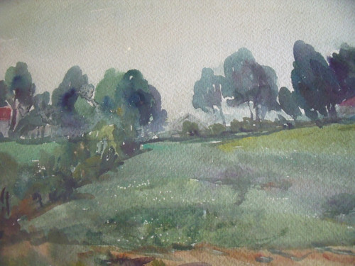 """MARY CABLE BUTLER (1865-1946) :New Hope/PA Impressionist """"Farm Landscape""""   Watercolor"""