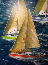 "BOBBY BURG:(Amer 1958) ""Neck 'N Neck"" Sailing Race Acrylic Gold Framed"