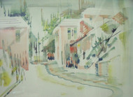 """ALFRED BIRDSEY: """"Bermuda Pink House On Harbor """" Watercolor Painting Gold Framed"""
