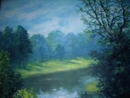 "CESARE RICCIARDI: Oil ""Along The River"" New Hope Impressionist C 1960"