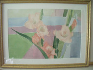 "MADLYN-ANN C. WOOLWICH"" GLADIOLAS PATTERNS "" WATERCOLOR CUSTOM FRAME LISTED"