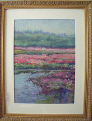 "MADLYN-ANN C. WOOLWICH PASTEL""FLORAL REFLECTIONS"" CUSTOM FRAME LISTED ARTIST"