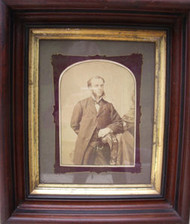 OLD WALNUT DEEP FRAME CIRCA 1880 WITH GOLD INSET OLD GLASS