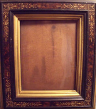 BURL WALNUT EASTLAKE VICTORIAN GOLD INCISED FRAME GOLD INSET CA 1880 LOVELY