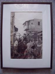 """HENRY GASSER PHOTOGRAPH """" MARKET CROWD SCENE"""" ITALY CA 1940'S/50'S CUSTOM FRAMED"""