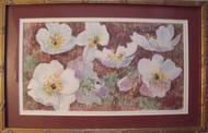 "MYRA MANNERS: ""Floral Fantasy"" Oil Pastel Ca 1970 Custom Gold Framed"