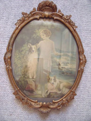 LOVELY OLD GOLD ORNATE OVAL FRAME CA 1900'S WITH GLASS WOOD BEAUTIFUL CONDITION