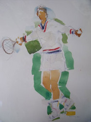 "RICHARD AHR 1929-2012 NEW YORK CITY "" ""TENNIS ANYONE?""""  WATERCOLOR"