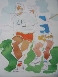 "RICHARD AHR 1929-2012 NEW YORK CITY "" LACROSSE""  WATERCOLOR"
