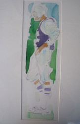 "RICHARD AHR 1929-2012 NEW YORK CITY "" FOOTBALL PLAYER""  WATERCOLOR PENCIL SIGNED"
