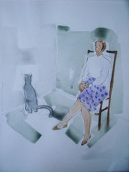 "RICHARD AHR 1929-2012 NEW YORK CITY ""WOMAN IN POLKA DOTS WITH CAT""  WATERCOLOR"