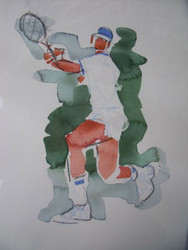 "RICHARD AHR 1929-2012 NEW YORK CITY ""ACE SERVE"" WATERCOLOR"