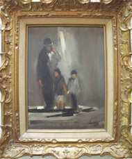 """STREETLIGHT FAMILY"" SIGNED SHEEHY OIL ON BOARD GOLD FRAME SKETCH OF OIL ON BACK"