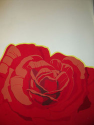 "BRIAN COOK SERIGRAPH PRINT ""RED ROSES ON WHITE""  PENCIL SIGNED COOK AP 1981"