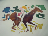 "RICHARD AHR 1929-2012 NEW YORK CITY ""HOME STRETCH"" EQUESTRIAN HORSE WATERCOLOR"
