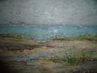 "IMPASTO OIL PAINTING ""AT THE SHORE"" ON BOARD OLD FRAME SIGNED"