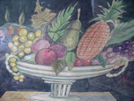 "ANTONIO ROMANO ""FEDERAL FRUIT BOWL"" LISTED ARTIST WATERCOLOR OLD FRAME"