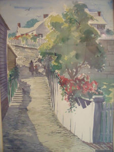 """LUCILLE HOBBIE : (1915- 2008) Listed 1959 """"Shore Walk"""" Watercolor Painting"""