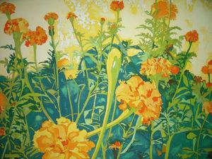 "RICHARD KARWOSKI: LISTED AMER NYC (1938-1982) Marigold Garden""  Lithograph Signed Numbered 1981"