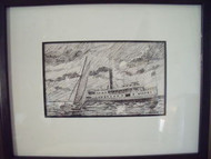ROBERT T. HORVATH EASTERN SHORE TWO SHIPS PEN AND INK CUSTOM BLACK FRAMED