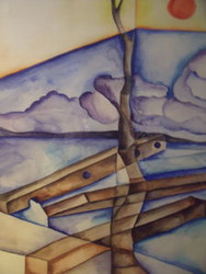"RICHARD KARWOSKI AMER NYC ""TREE & SUN"" WATERCOLOR 1969 FRAMED"