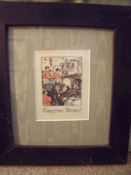 HORSE COACH & FOUR HAND COLORED PRINT ANTIQUE FRAME