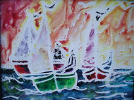 """HOT BOATS"" MIXED MEDIA LINDA ROGGENBURG"