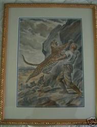 """PAUL BRANSOM  ADVENTURE BOOK ILLUSTRATION OIL PASTEL CA 1930 """"TIGER\MAN"""""""