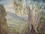 """KANGAROO VALLEY NSW"" OIL RONALD PETERS SIGNED AND TITLED GOLD CUSTOM FRAME"