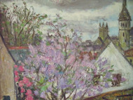 "GEORGES ROCHER (1927-1984) ""LE PRINTEMPS DU VILLAGE"" OIL ON LINEN CUSTOM FRAMED"