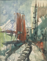 "FRANK CAMPANELLA 1918-2016 BROOKLYN/HIGHLANDS NJ ""THE BRIDGE "" WATERCOLOR LISTED"