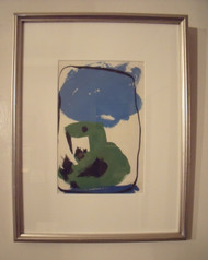 "ROBERT T. COOKE LISTED ""GREEN DUCK"" PONDERABLE MASS 1989 MIXED MEDIA FRAMED"