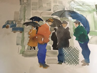 "RICHARD AHR 1929-2012 NEW YORK CITY ""SUBWAY ENTRANCE BROOKLYN"" WATERCOLOR 1998"