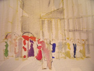 "RICHARD AHR 1929-2012 NEW YORK CITY ""WAITING IN LINE IN OUR FINERY"" WATERCOLOR"