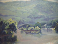HORTENSE BUDELL BRIDGE BY THE WATERFALL OIL PAINTING NEW HOPE PA IMPRESSIONIST