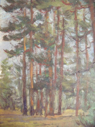 "Margaret Munro Stratton (AMER 1911-1995)"" Trees"" Listed Oil on Board Inscription Verso"